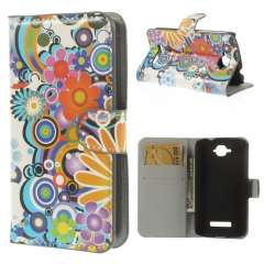 Alcatel One Touch Pop C7 Wallet Stand Case Flowers White