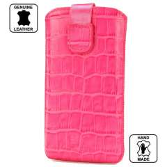 Leather Case HTC One V Croco Look Pink