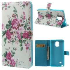 Samsung Galaxy Note 4 Bookstyle Stand Case Charming Flowers