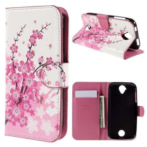 Acer Liquid Z330 Hoesje Roze Bloemen met Opbergvakjes