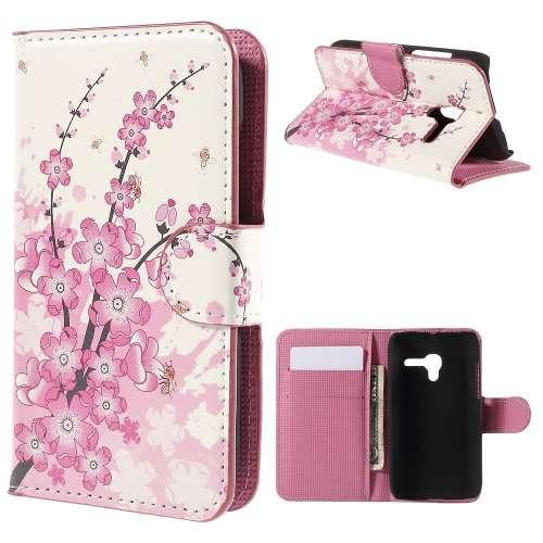 Alcatel One Touch POP D3 Hoesje met Opbergvakjes Roze Bloemen