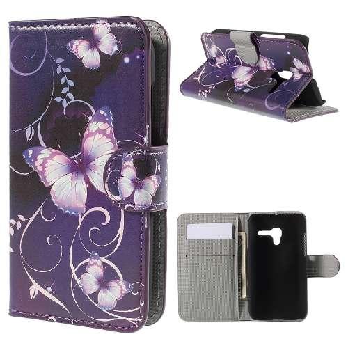 Alcatel One Touch POP D3 Hoesje met Opbergvakjes Vlinders Paars
