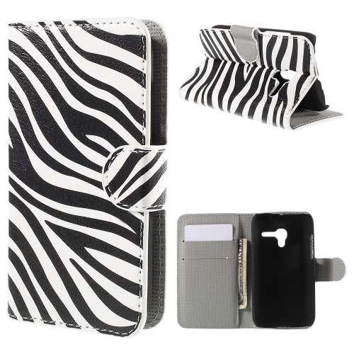 Alcatel One Touch POP D3 Hoesje met Opbergvakjes Zebra