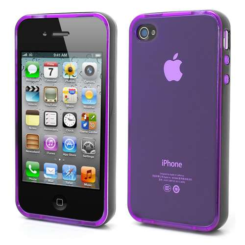 Apple iPhone 4-4S TPU Bumper Hoesje Transparant Paars