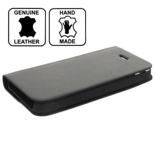 Apple iPhone 5 Leather Stand Case Hoesje Zwart