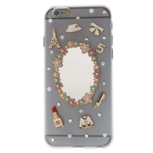 Apple Iphone 6 | 6s Hoesje Transparant met Spiegel en Bloemetjes