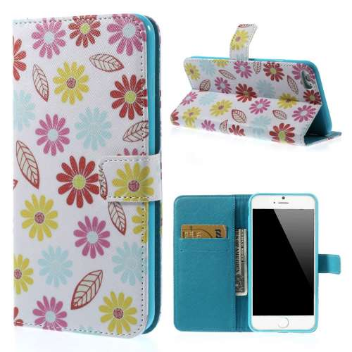 Apple iPhone 6 Plus Stand Case Hoesje Bloemen Print