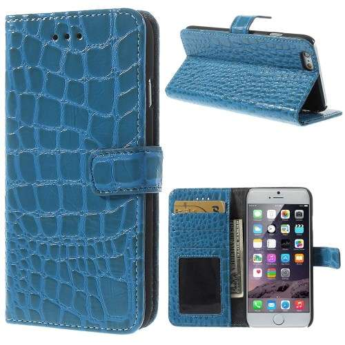 Apple iPhone 6 Plus Stand Case Hoesje Croco Blauw