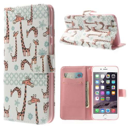Apple iPhone 6 Plus Stand Case Hoesje Giraffen
