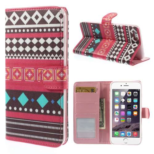 Apple iPhone 6 Plus Stand Case Hoesje Ruit & Driehoek Print