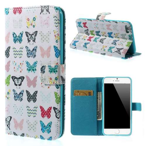 Apple iPhone 6 Plus Stand Case Hoesje Vlinder Print