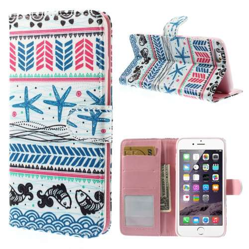 Apple iPhone 6 Plus Stand Case Hoesje Zeester & Vis Donkerblauw