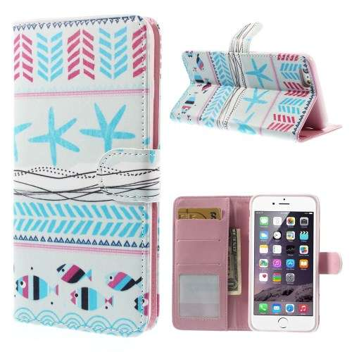 Apple iPhone 6 Plus Stand Case Hoesje Zeester & Vis Print