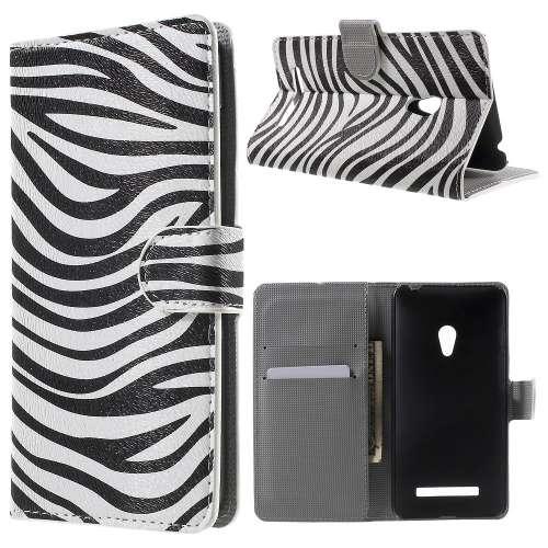 Asus Zenfone 5 Hoesje met opbergvakjes Zebra