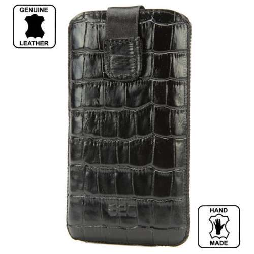 B2C Leather Case Wolfgang AT-AQ28D QWERTY Croco Look Black