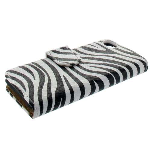 Premium Bookstyle Case Apple iPhone 5C Zebra Wit