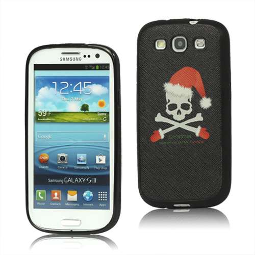 Christmas Skull Coated TPU Case Samsung Galaxy S3 Black