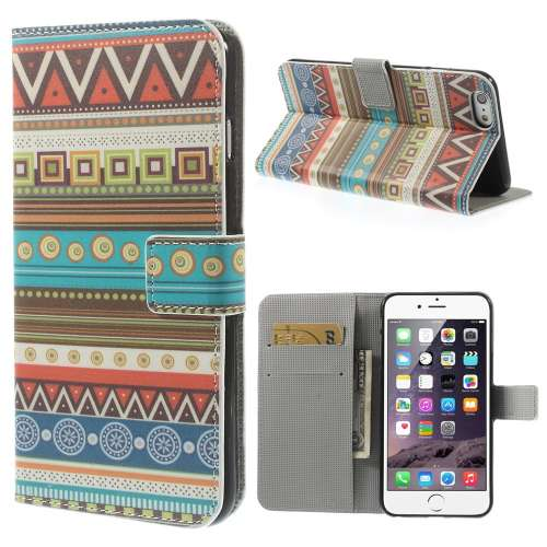 Apple iPhone 6 Plus Stand Case Hoesje Afrikaanse Stam Figuren