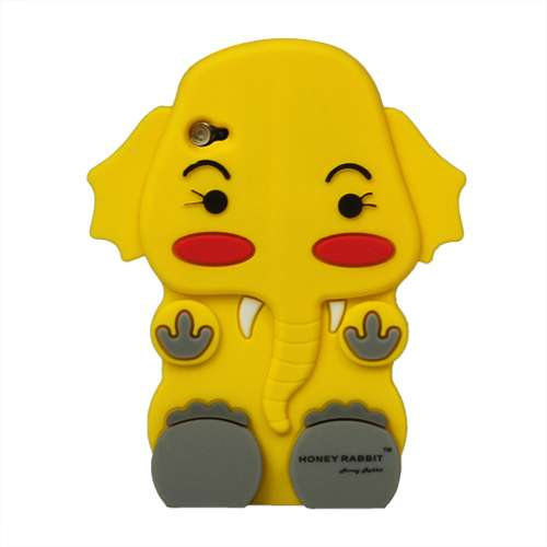 iPod Touch 4 3D Silicone Hoesje Case Olifant Geel