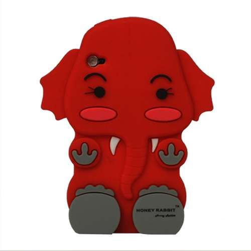 iPod Touch 4 3D Silicone Hoesje Case Olifant Rood