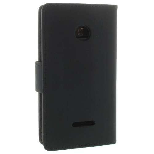 Microsoft Lumia 435 Boekhoesje Zwart met Opbergvakjes