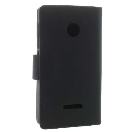 Microsoft Lumia 532 Boekhoesje Zwart met Opbergvakjes