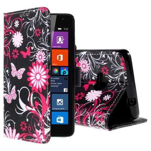 Microsoft Lumia 535 Hoesje Vlinders met Opbergvakjes