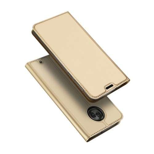 Gouden Slim TPU Booklet voor de Motorola Moto G6 Plus