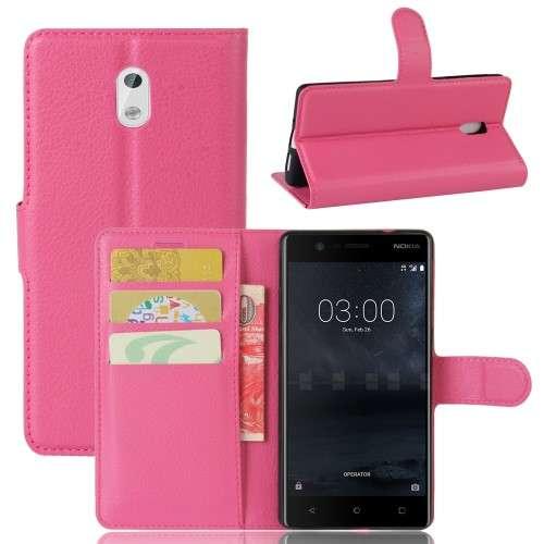 Nokia 3 Hoesje Roze met opbergvakjes