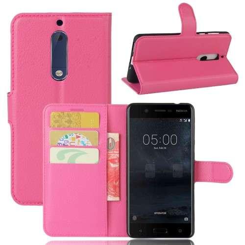 Nokia 5 Hoesje Roze met opbergvakjes