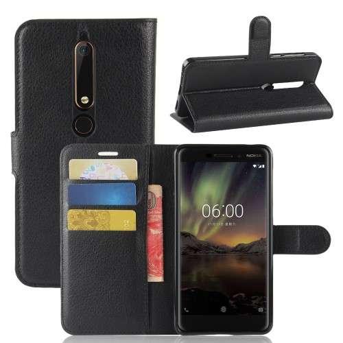 Nokia 6 (2018) Telefoonhoesje Zwart met Opbergvakjes