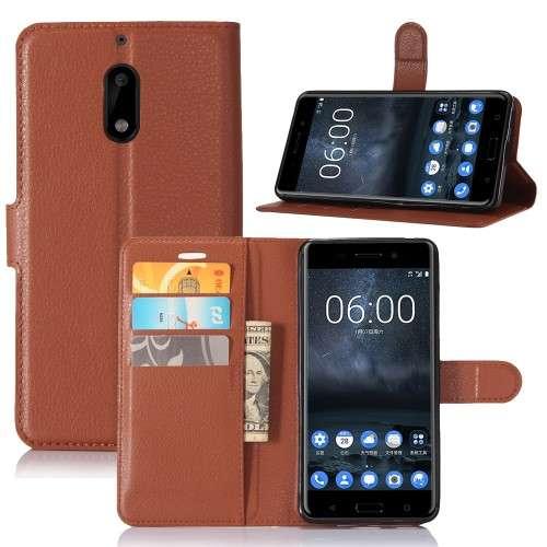 Nokia 6 Hoesje Bruin met opbergvakjes