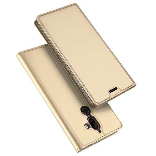 Gouden Slim TPU Booklet voor de Nokia 7 Plus