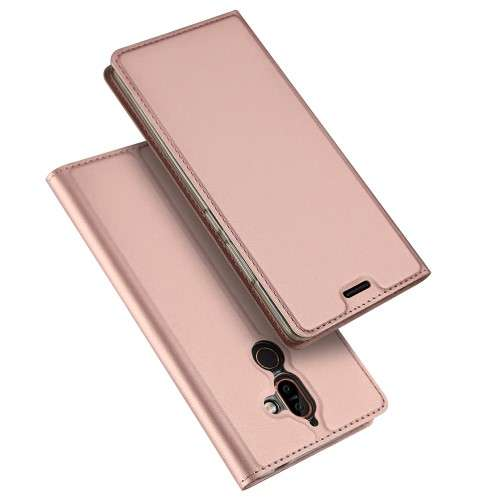 Rosé Gouden Slim TPU Booklet voor de Nokia 7 Plus