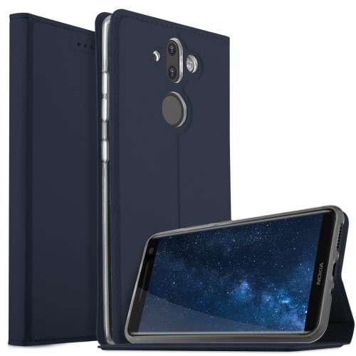 Nokia 8 Sirocco Telefoonhoesje Blauw met Opbergvakje