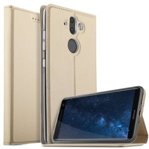 Nokia 8 Sirocco Telefoonhoesje Goud met Opbergvakje