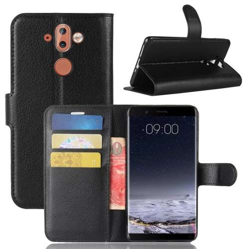 Nokia 9 Hoesje Zwart met opbergvakjes