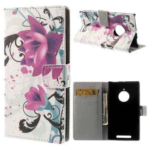 Nokia Lumia 830 Wallet Stand Case Hoesje Lotus