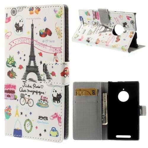 Nokia Lumia 830 Wallet Stand Case Hoesje Parijs