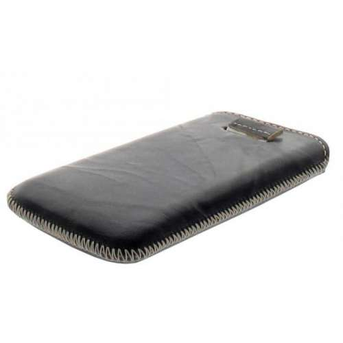 B2C Leather Case Samsung E2652 Champ Black Met Strap