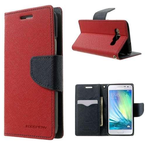 Samsung Galaxy A3 Hoesje Rood met Opbergvakjes, A300F