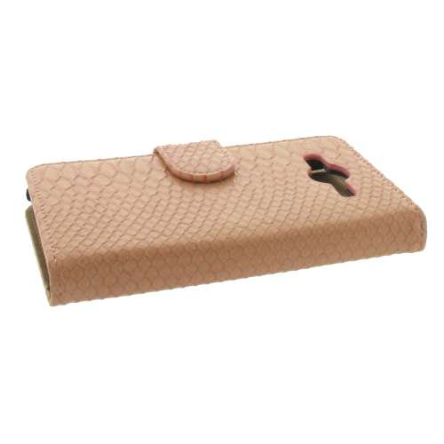 Samsung Galaxy Core 2 Bookstyle Case Snake Design Roze