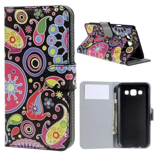 Samsung Galaxy E5 Hoesje met Opbergvakjes Kleurrijke Figuren