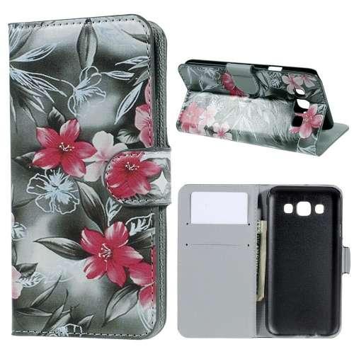 Samsung Galaxy E5 Hoesje met Opbergvakjes Roze Bloemen