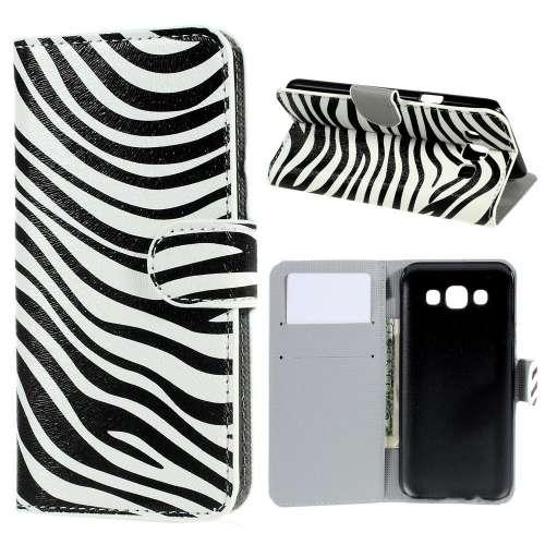 Samsung Galaxy E5 Hoesje met Opbergvakjes Zebra