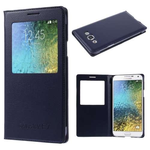 Samsung Galaxy E7 Hoesje met Venster Blauw
