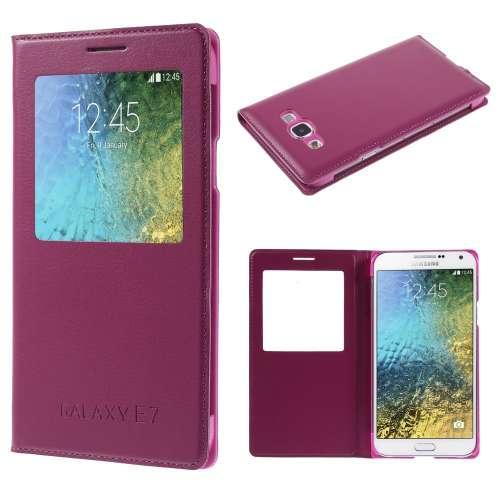 Samsung Galaxy E7 Hoesje met Venster Donkerroze