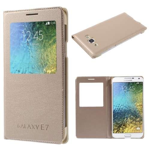 Samsung Galaxy E7 Hoesje met Venster Goud