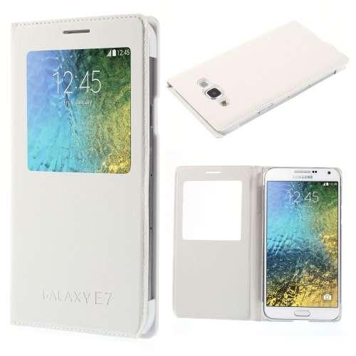Samsung Galaxy E7 Hoesje met Venster Wit