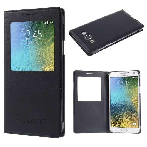 Samsung Galaxy E7 Hoesje met Venster Zwart